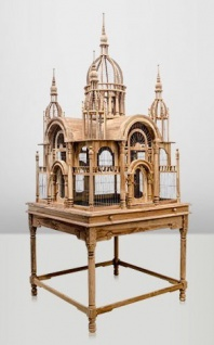 Casa Padrino Barock Vogelpalast handgeschnitzt aus Mahagoniholz H250cm - Vogelhaus Vogelkäfig Antik Stil