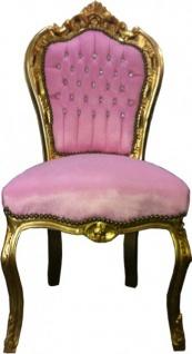 Barock Esszimmer Stuhl Rosa / Gold Bling Bling Steine
