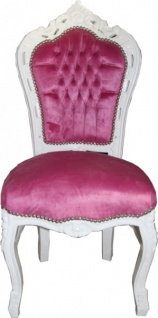 Casa Padrino Barock Esszimmer Stuhl Rosa / Weiß - Möbel
