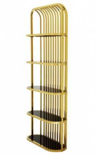 Casa Padrino Luxus Regal Schrank Gold mit schwarzem Glas - Luxus Kollektion
