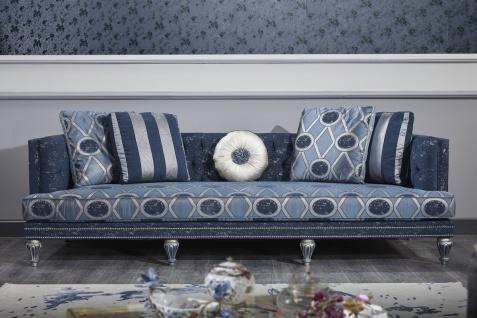 Casa Padrino Luxus Barock Chesterfield Sofa Dunkelblau / Hellblau / Silber 250 x 92 x H. 85 cm - Barock Wohnzimmermöbel