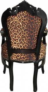 Casa Padrino Barock Esszimmer Stuhl Leopard / Schwarz mit Armlehnen - Vorschau 3