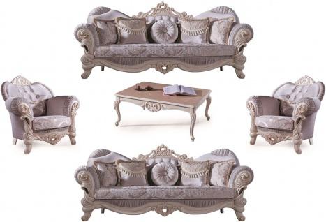 Casa Padrino Luxus Barock Wohnzimmer Set Flieder / Creme / Beige - 2 Sofas & 2 Sessel & 1 Couchtisch - Wohnzimmer Möbel im Barockstil - Edel & Prunkvoll