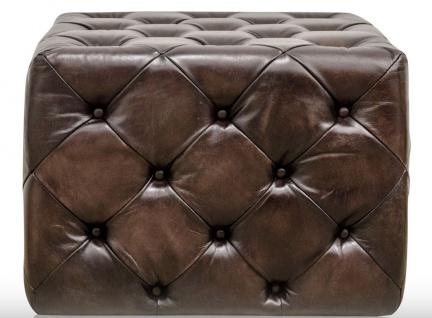 Casa Padrino Luxus Echtleder Fußhocker Rotguss 64 x 64 x H. 46 cm - Chesterfield Möbel - Vorschau 3
