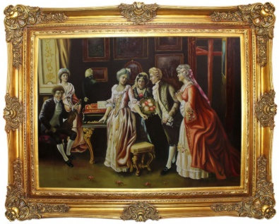 Casa Padrino Barock Ölgemälde Die Feier Mehrfarbig / Gold 160 x 10 x H. 130 cm - Handgemaltes Gemälde mit prunkvollem Rahmen im Barockstil - Barock Deko Accessoires