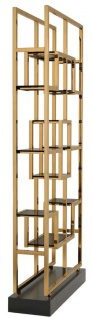Casa Padrino Luxus Regalschrank Messing / Schwarz 108 x 29 x H. 240 cm - Edelstahl Wohnzimmerschrank mit 10 Glasregalen - Luxus Wohnzimmer Möbel - Vorschau 3