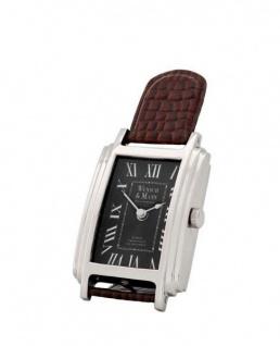 Casa Padrino Designer Luxus Uhr Nickel finish mit braunem Leder 12 x H. 26 cm - Tisch Uhr