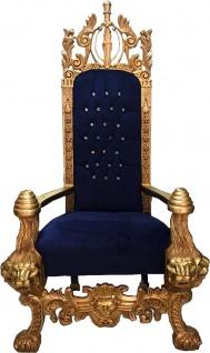 Majestätischer Harald Glööckler Luxus Barock Thron Sessel Pompöös by Casa Padrino Lion Royalblau / Gold - Vorschau 2