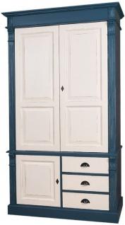 Casa Padrino Landhausstil Kleiderschrank Antik Blau / Antik Cremefarben 120 x 59 x H. 210 cm - Massivholz Schlafzimmerschrank mit 3 Türen und 3 Schubladen - Landhausstil Schlafzimmermöbel