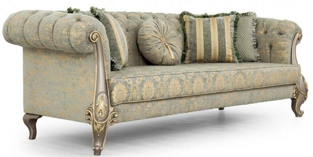 Casa Padrino Luxus Barock Sofa Grün / Gold / Grau / Gold 225 x 108 x H. 80 cm - Prunkvolles Barockstil Wohnzimmer Sofa mit elegantem Muster - Barock Möbel