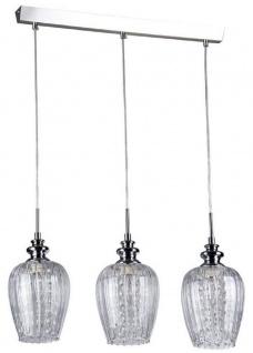 Casa Padrino 3er Hängeleuchte Silber 70 x H. 100 cm - Hängelampe mit feinsten Kristall Behängen