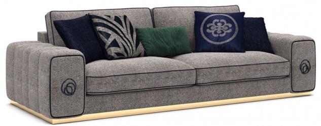 Casa Padrino Luxus Wohnzimmer Sofa Grau / Schwarz / Gold 260 x 100 x H. 65 cm - Edle Wohnzimmer Möbel - Luxus Möbel