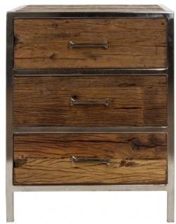 Casa Padrino Luxus Nachttisch mit 3 Schubladen Braun / Silber 45 x 40 x H. 60 cm - Luxus Schlafzimmermöbel