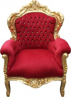 "Casa Padrino Barock Sessel "" King"" Bordeaux/Gold mit Bling Bling Glitzersteinen Mod2"