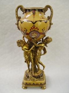 Casa Padrino Barock Messing Vase mit 2 Griffen - H. 49 cm - Luxus Vase