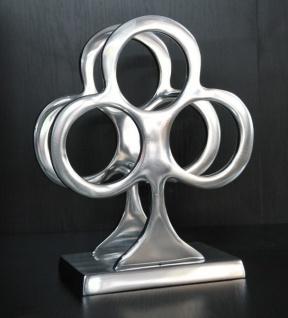 Casa Padrino Designer Weinregal aus poliertem Aluminium für 3 Flaschen H 32 cm, B 26 cm, T 15 cm - Flaschenhalter - Flaschenablage
