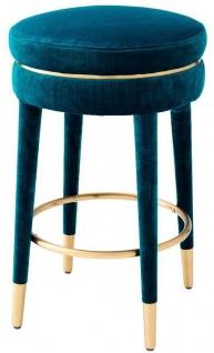 Casa Padrino Luxus Barhocker Blau / Messing Ø 41 x H. 68 cm - Runder Samt Hocker - Luxus Möbel
