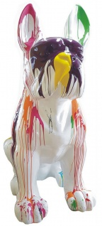 Casa Padrino Designer Deko Hund Französische Bulldogge Weiß / Bunt 220 x 130 x H. 250 cm - Riesige Dekofigur - Gartendeko Skulptur - Wetterbeständige Gartenfigur