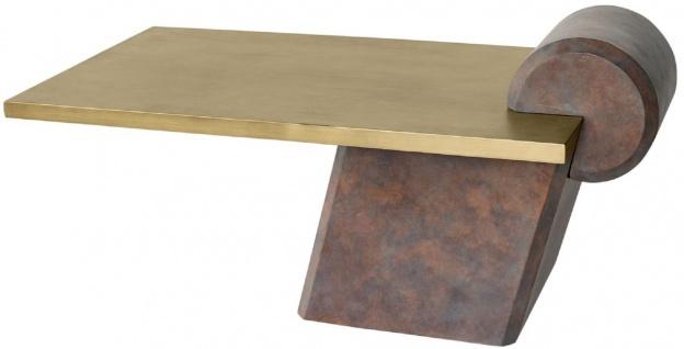 Casa Padrino Designer Couchtisch Messing / Antik Kupfer 115 x 60 x H. 53 cm - Wohnzimmertisch aus Glasfaserverstärktem Beton - Luxus Qualität - Vorschau 3