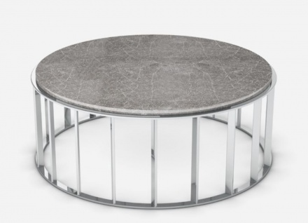 Casa Padrino Luxus Couchtisch Grau / Silber Ø 100 x H. 42 cm - Runder Wohnzimmertisch mit Emperador Marmorplatte und Edelstahl Gestell - Wohnzimmermöbel - Luxus Qualität