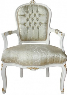 Casa Padrino Barock Salon Stuhl Mod1 Creme / Gold mit Bling Bling Glitzersteinen