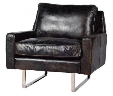 Casa Padrino Luxus Echtleder Sessel Vintage Schwarz / Silber 87 x 86 x H. 83 cm - Leder Möbel