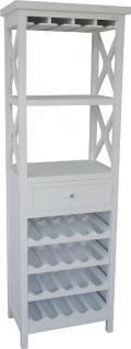 Casa Padrino Landhausstil Regalschrank mit Schublade und Flaschenfächern Weiß 58 x 37 x H. 176 cm - Landhausstil Möbel