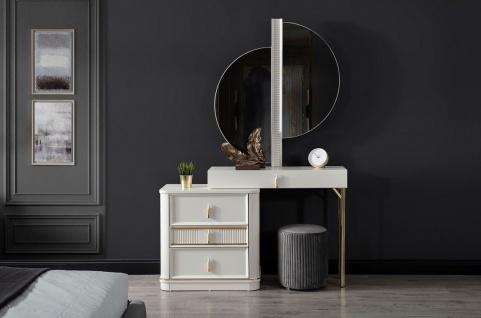 Casa Padrino Luxus Schlafzimmer Schminktisch Set Weiß / Gold / Grau - 1 Schminkkommode mit Spiegel & 1 Hocker - Luxus Schlafzimmer Möbel - Vorschau 2