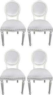 Casa Padrino Luxus Barock Esszimmer Set Medaillon Weiß 50 x 52 x H. 99 cm - 4 handgefertigte Esszimmerstühle - Barock Esszimmermöbel