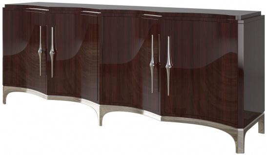 Casa Padrino Luxus Sideboard Dunkelbraun / Silber 220 x 50 x H. 90 cm - Edler Wohnzimmer Schrank mit 4 Türen - Luxus Möbel