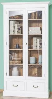 Casa Padrino Landhausstil Bücherschrank Weiß / Braun 109 x 39 x H. 210 cm - Wohnzimmerschrank mit 2 Glastüren und 2 Schubladen - Landhausstil Möbel - Vorschau 3