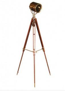 Industrial Studioleuchte Marine Vintage Lampe Stehleuchte Braun / Messing - Antique Brass Finish - Luxus Qualität