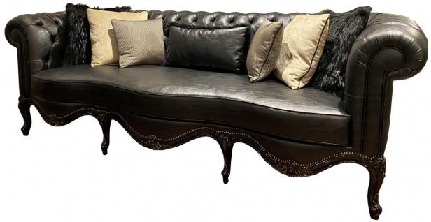 Casa Padrino Luxus Barock Chesterfield Leder Sofa Schwarz 250 x 95 x H. 83 cm - Echtleder Wohnzimmer Sofa im Barockstil - Edel & Prunkvoll