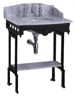 Casa Padrino Luxus Jugendstil Stand Waschtisch Weiß / Schwarz mit Marmorplatte mit Spritzschutz hinten, seitlich und Ablage Barock Waschbecken Barockstil Antik Stil