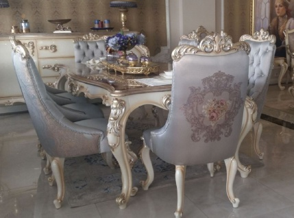 Casa Padrino Luxus Barock Esstisch Silber / Creme / Gold - Handgefertigter Massivholz Esszimmertisch - Möbel im Barockstil - Edel & Prunkvoll