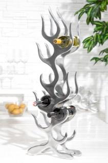 Designer Weinregal für 9 Flaschen poliertes Aluminium Höhe: 93 cm, Breite: 27 cm, Tiefe: 14 cm - Flaschenhalter, Flaschenablage Flammen Flames - Vorschau 2