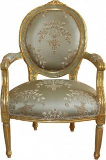Casa Padrino Barock Medaillon Salon Stuhl Grün Muster / Gold Modell Versailles - Möbel Antik Stil