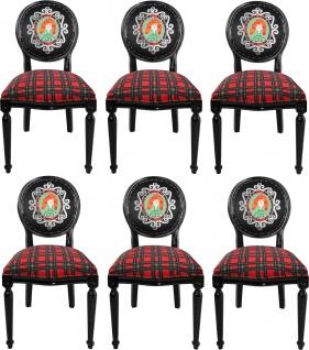 Casa Padrino Luxus Barock Esszimmer Set Schottland Frau Mehrfarbig / Schwarz 48 x 50 x H. 98 cm - 6 handgefertigte Esszimmerstühle - Barock Esszimmermöbel