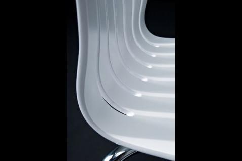 Designer Stuhl aus Holz und verchromtem Stahl, Weiß, Esszimmerstuhl, moderner Wohnzimmerstuhl - Vorschau 3