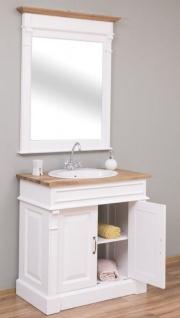 Casa Padrino Landhausstil Badezimmer Set Weiß / Naturfarben - 1 Waschtisch & 1 Wandspiegel - Massivholz Badezimmer Möbel im Landhausstil - Vorschau 4
