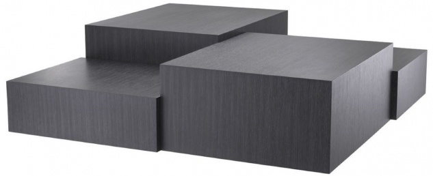 Casa Padrino Luxus Wohnzimmer Couchtisch Grau 112 x 112 x H. 40 cm - Wohnzimmertisch mit 3 verschiedenen Tischhöhen - Luxus Möbel