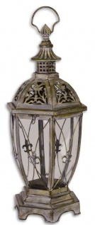 Casa Padrino Jugendstil Laterne / Kerzenleuchter Antik Grau 25, 3 x 22 x H. 57 cm - Deko Accessoires