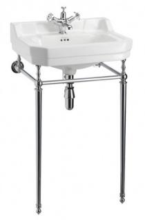 Casa Padrino Jugendstil Stand Waschtisch Weiß / Chrom B 56cm Mod5 - Art Deco Waschbecken Barock Antik Stil