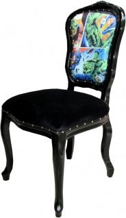 Casa Padrino Barock Luxus Esszimmer Stuhl Comic / Schwarz - Designer Stuhl - Design Möbel - Vorschau 3