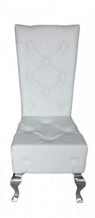 Casa Padrino Barock Esszimmer Stuhl Weiß / Silber Lederoptik - Designer Stuhl - Luxus Qualität Hochlehnstuhl GH