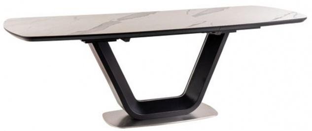 Casa Padrino Luxus Esstisch Weiß / Schwarz / Silber 160-220 x 90 x H. 76 cm - Ausziehbarer Küchentisch mit Tischplatte in Marmoroptik - Luxus Esszimmer Möbel