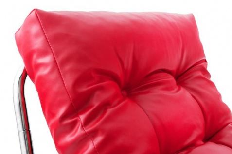 Designer Salon Stuhl Rot Lederoptik, sehr komfortabler Sitz, moderner Wohnzimmerstuhl - Vorschau 3