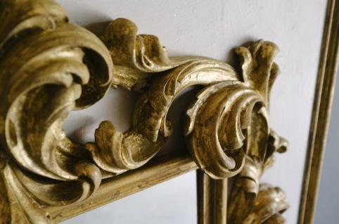 Casa Padrino Barock Spiegel Grau / Gold 104, 5 x H. 128 cm - Prunkvoller handgefertigter Wandspiegel mit dekorativem Rahmen und wunderschönen Verzierungen - Vorschau 2
