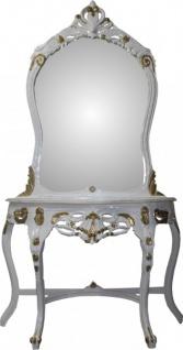 Casa Padrino Barock Spiegelkonsole Weiß/Gold mit Marmorplatte - Konsole - Schminkkonsole - Limited Edition