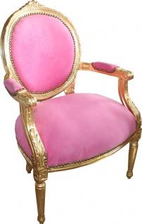Casa Padrino Luxus Barock Medaillon Salon Stuhl Rosa / Gold - Möbel Antik Stil - Vorschau 3